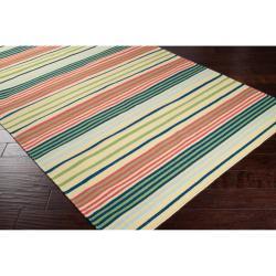 Hand-woven Green Baloo Wool Rug (3'6 x 5'6) - Thumbnail 1