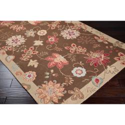 Hand-hooked Brown Planck Wool Rug (8' x 10') - Thumbnail 1