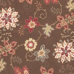 Hand-hooked Brown Planck Wool Rug (8' x 10') - Thumbnail 2