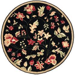 Hand-hooked Black Wilheim Wool Rug (3' Round)