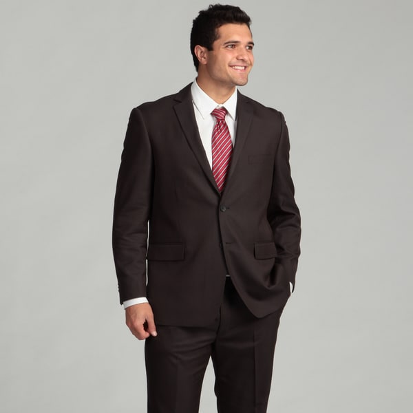Perry Ellis Portfolio Men's Dark Grey Striped Two-button Suit FINAL SALE