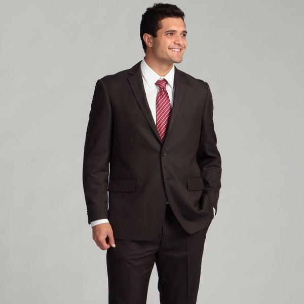 Perry Ellis Portfolio Men's Dark Grey Striped Two-button Suit FINAL SALE