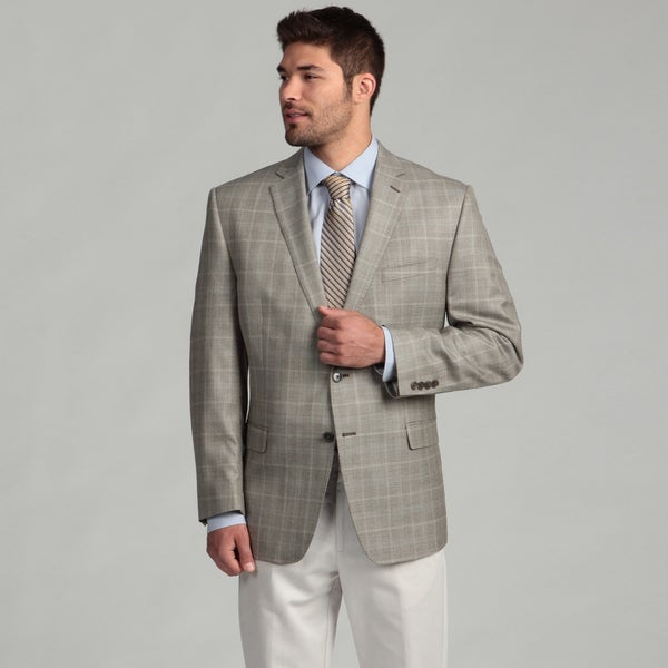 Calvin Klein Men's Tan Windowpane Wool/Silk Blend Sports Coat