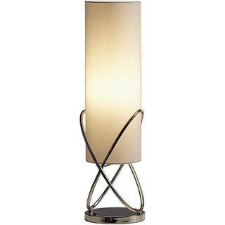 Internal Table Lamp-Chrome with White Linen Shade