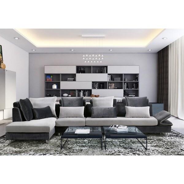 Shop Furniture Of America Shelton 3-piece Velvet Sectional
