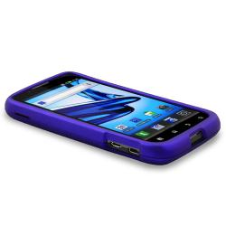 INSTEN Blue Snap-on Rubber Coated Phone Case Cover for Motorola Atrix 2 MB865 - Thumbnail 2