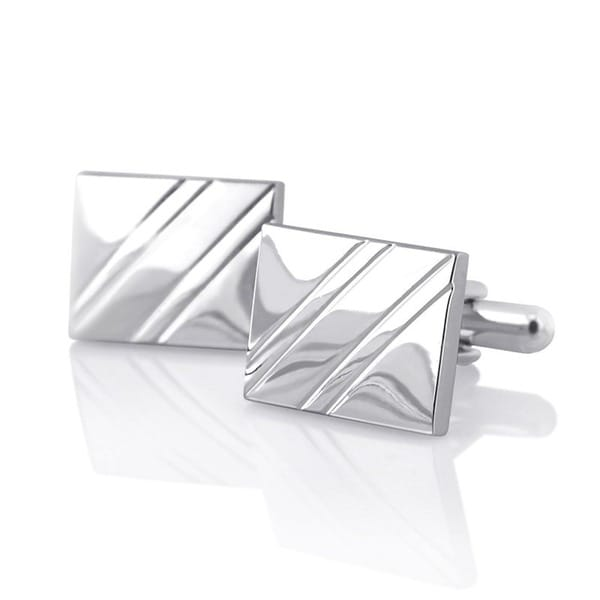 Zodaca Elegant Silver Rhodium-plated PVC Square Diagonal Ribbed Cufflinks