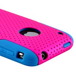 Blue Skin/ Hot Pink Mesh Hybrid Case for Apple iPhone 3G/ 3GS - Thumbnail 2