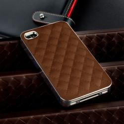 INSTEN Dark Brown Leather/ Silver Side Snap-on Phone Case Cover for Apple iPhone 4/ 4S - Thumbnail 1