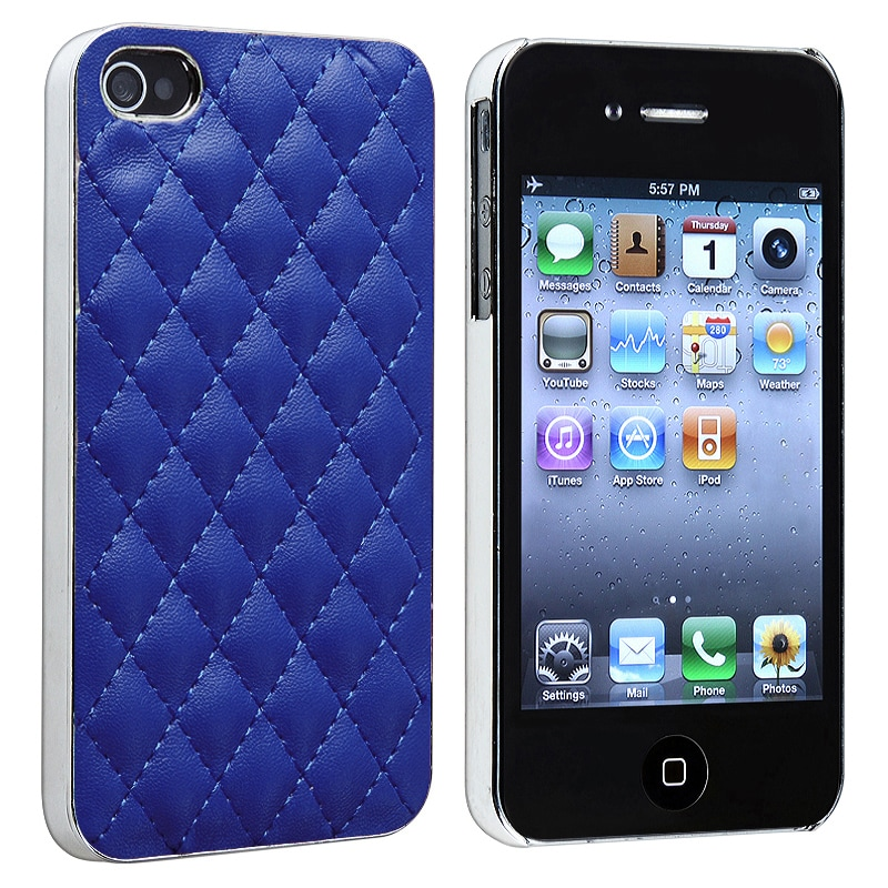 Blue Leather with Silver Side Snap-on Case for Apple iPhone 4/ 4S