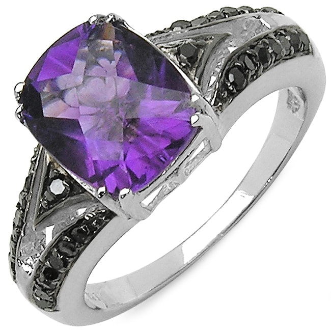 Malaika Sterling Silver Amethyst and 1/4ct TDW Black Diamond Ring