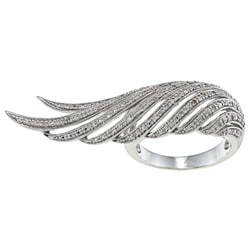 Victoria Kay Sterling Silver 1/10ct TDW White Diamond Feather Ring (J-K, I2-I3)
