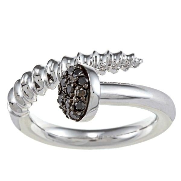 Sterling Silver 1/4ct TDW Black Diamond Screw Head Design Ring