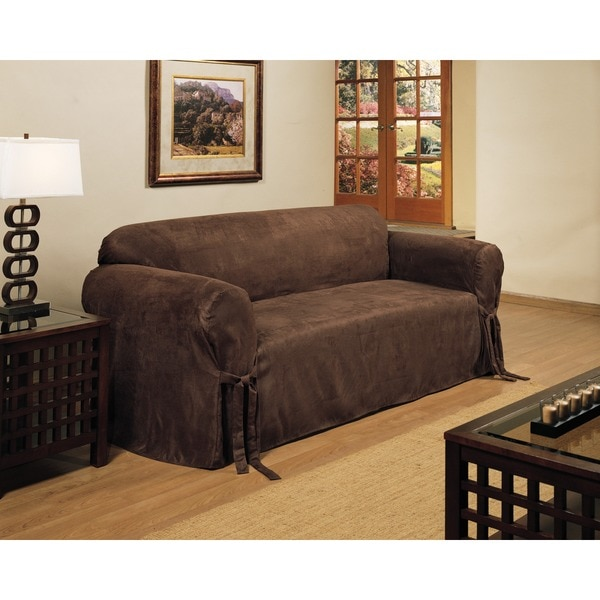 shop classic slipcovers micro suede slipcover sofa on sale free shipping today overstock. Black Bedroom Furniture Sets. Home Design Ideas