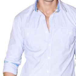 191 Unlimited Men's Blue Striped Woven Shirt