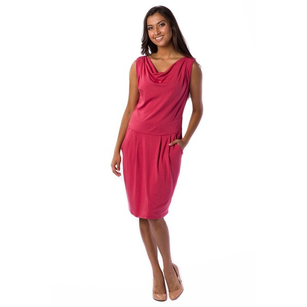 A to Z Women's Drape-neck Sleeveless Dress