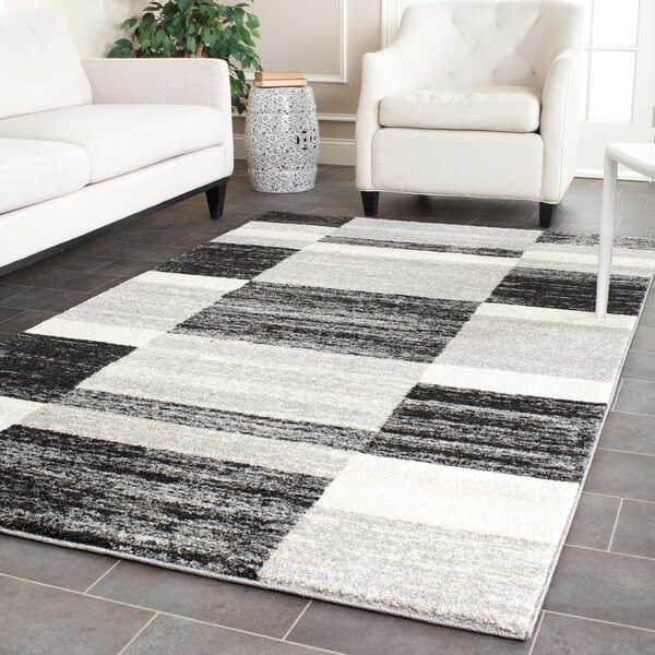 Safavieh Retro Modern Abstract Black/ Light Grey Distressed Rug (4' x 6')