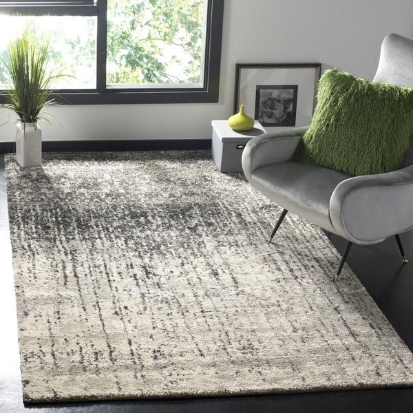 Safavieh Retro Mid Century Modern Abstract Black/ Light Grey Distressed Rug  (4u0026#