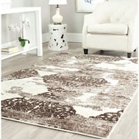Safavieh Retro Modern Abstract Cream/ Brown Distressed Area Rug (8' x 10') - 8' x 10'