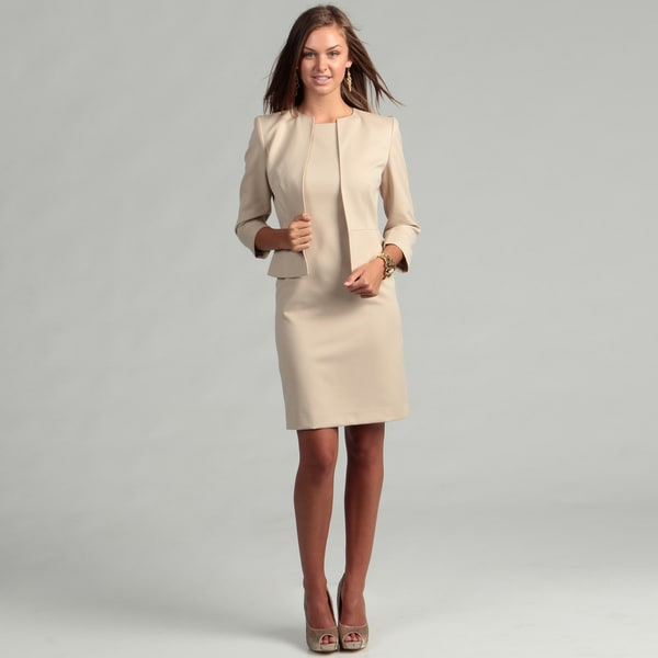 Anne Klein Women's Latte Bolero Jacket Dress