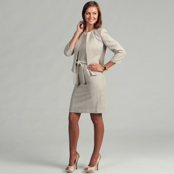 Anne Klein Women's Khaki Tweed Bolero Jacket Dress