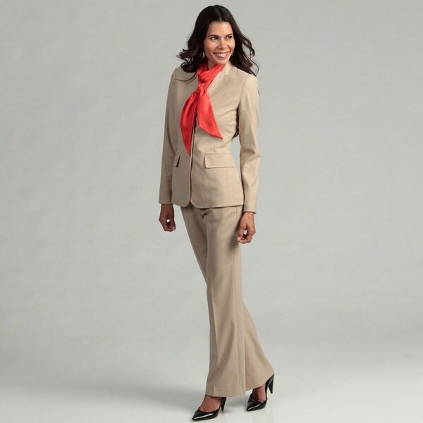 Anne Klein Women's 3-button Bisque Pant Suit