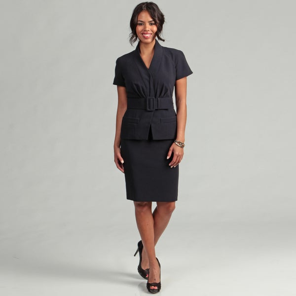 Shop Anne Klein Women S Navy Belted Skirt Suit Free Shipping Today