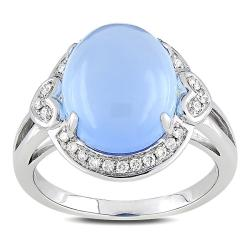 Miadora 14k White Gold Blue Chalcedony and 1/6ct TDW Diamond Ring (H-I, SI1-SI2)