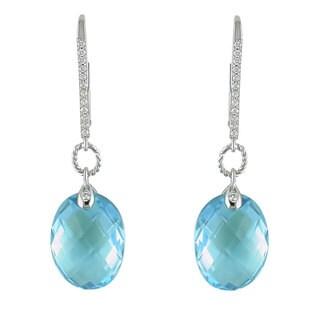 Miadora 14k White Gold BlueTopaz and 1/8ct TDW Diamond Earrings (H-I, SI1-SI2)