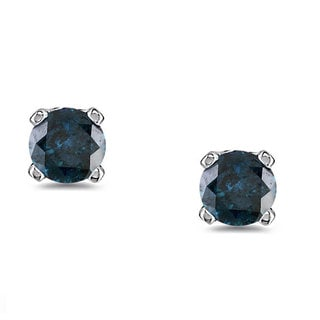 Miadora 10k White Gold 1/4ct TDW Blue Diamond Stud Earrings