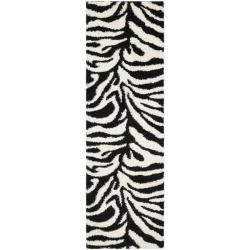 Safavieh Zebra Shag Off-White/ Black Rug (2'3 x 7')