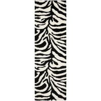 "Safavieh Zebra Shag Off-White/ Black Rug - 2'3"" x 7' Runner"