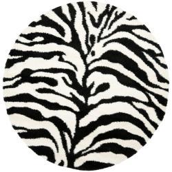 Safavieh Zebra Shag Off-White/ Black Rug (6' 7 Round)