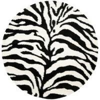 """Safavieh Zebra Shag Off-White/ Black Rug - 6'7"""" x 6'7"""" round"""