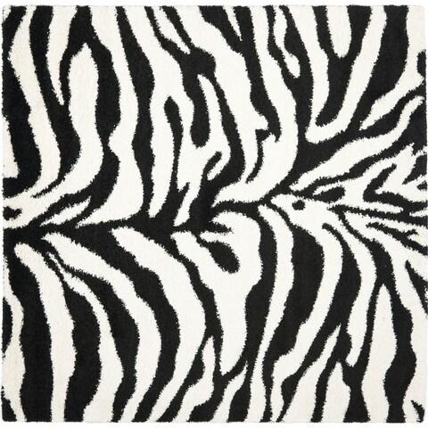 """Safavieh Zebra Shag Off-White/ Black Rug - 6'7"""" x 6'7"""" Square"""