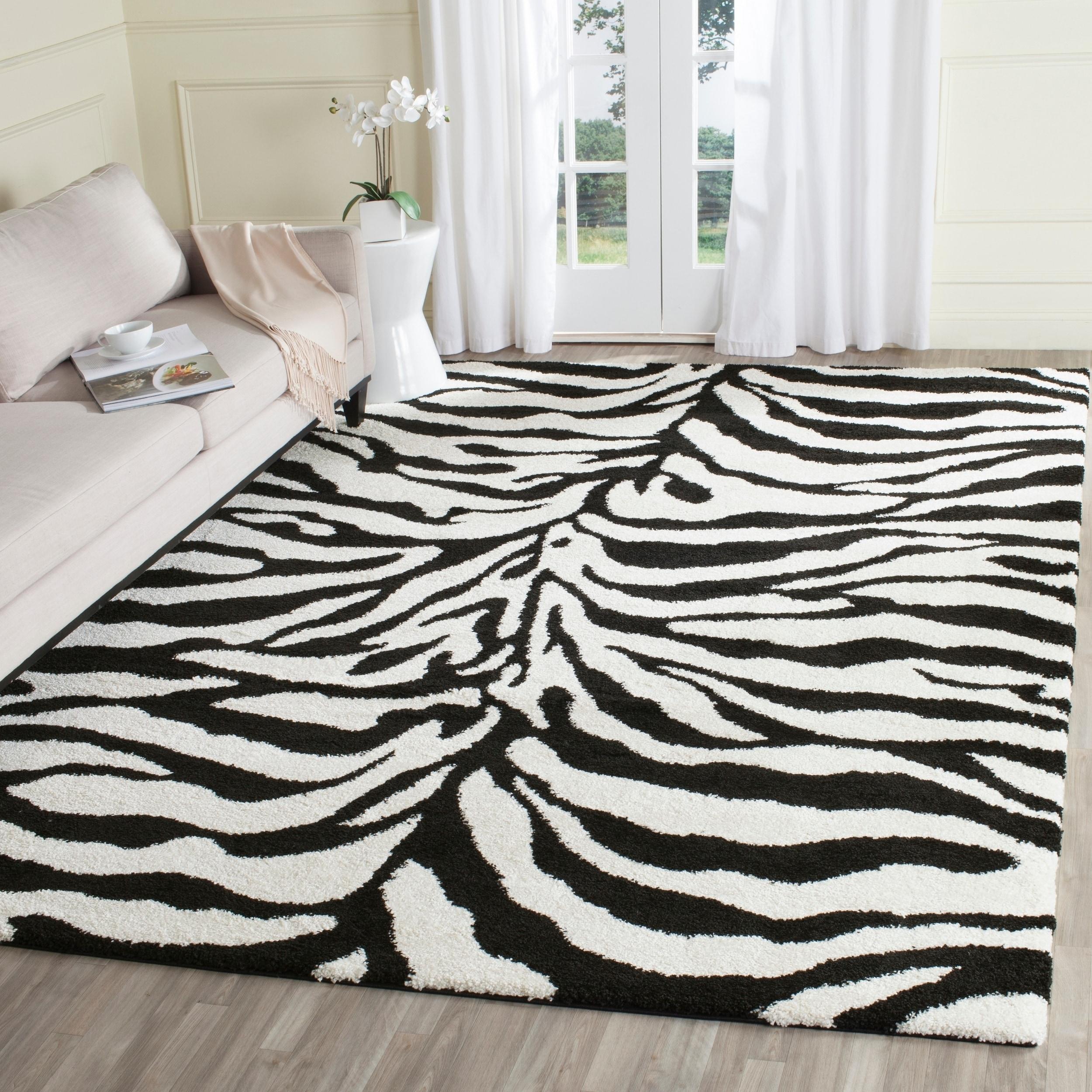 Safavieh Zebra Shag Off-White (Beige)/ Black Rug (8'6 x 1...