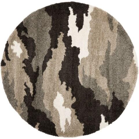 """Safavieh Camouflage Shag Beige/ Multicolored Rug - 6'7"""" x 6'7"""" round"""