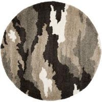 Safavieh Camouflage Shag Beige/ Multicolored Rug (6' 7 Round) - 6' 7 Round