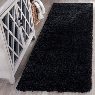 Safavieh California Cozy Solid Black Shag Rug (2'3 x 7')