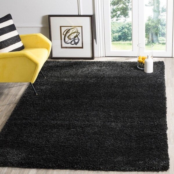 Safavieh California Cozy Solid Black Shag Rug (6'7 x 9'6)