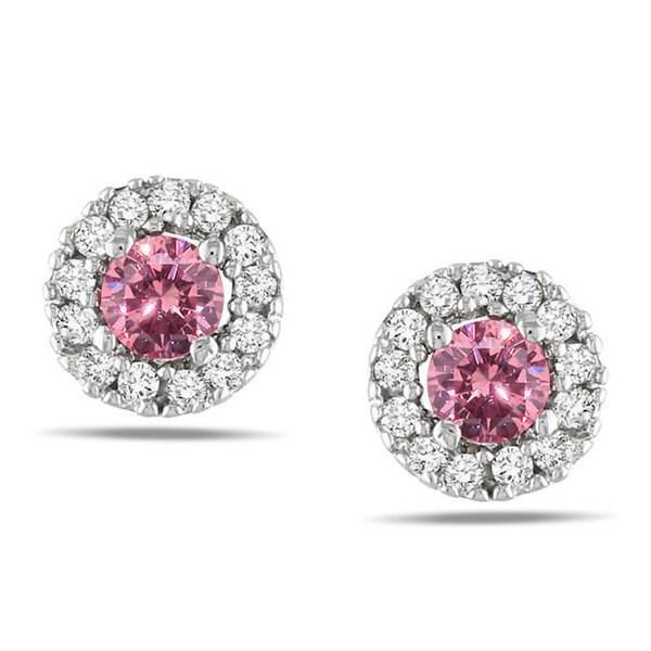 Miadora 10k White Gold 1/3ct TDW Pink and White Diamond Halo Earrings