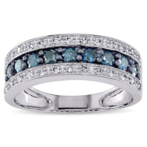 Miadora 14k White Gold 3/4ct TDW Blue and White Diamond Ring (H-I, I2-I3)