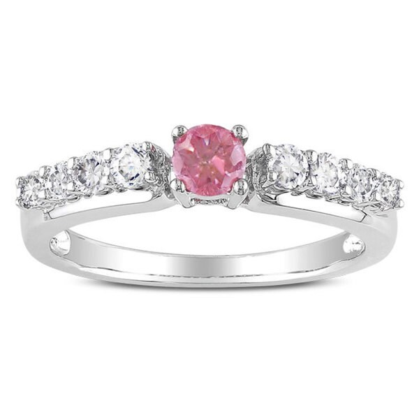 Miadora 14K White Gold 1/2Ct TDW Round-cut Pink and White Diamond Ring