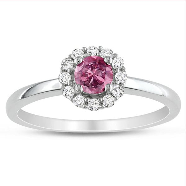 Miadora 10k White Gold 1/2ct TDW Pink and White Round-cut Diamond Ring