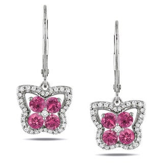 Miadora 14k White Gold 1ct TDW Pink and White Diamond Earrings