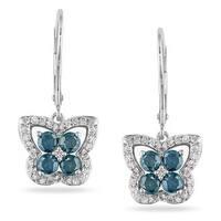 Miadora 14k White Gold 1ct Blue Diamond Butterfly Earrings