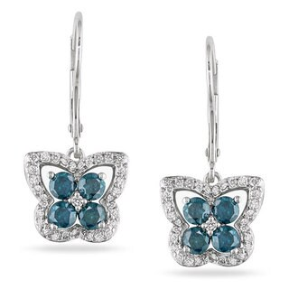 Miadora 14k White Gold 1ct Blue Diamond Butterfly Earrings