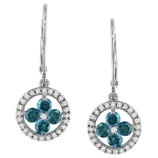 Miadora 14k White Gold 1ct TDW Blue and White Diamond Dangle Earrings