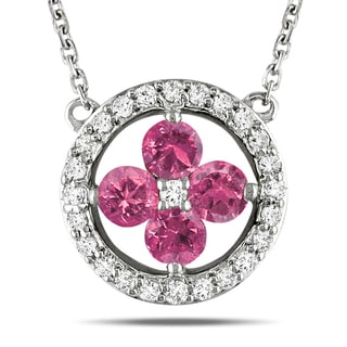 Miadora 14k White Gold 1/2ct TDW Pink Diamond Necklace