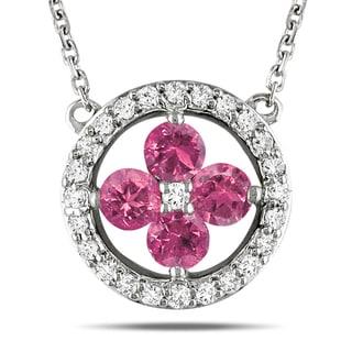 Miadora 14k White Gold 1/2ct TDW Pink Diamond Necklace (H-I, I1-I2)